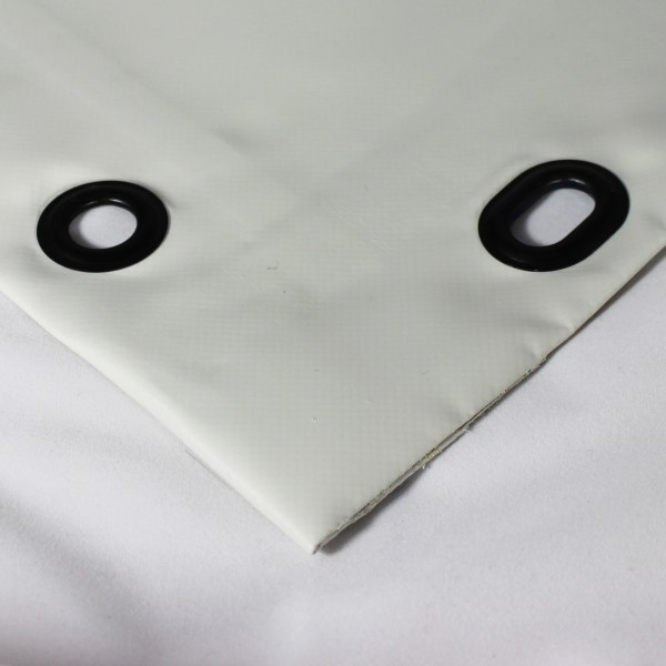 PVC matt mit Saum und Ösen alle 100cm, hellgrau
