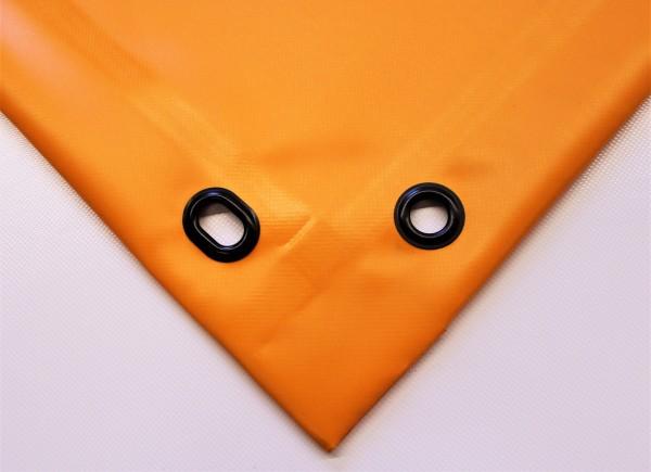 PVC matt mit Saum und Ösen alle 50cm, orange hell