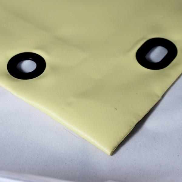 PVC matt mit Saum und Ovalösen alle 50cm, beige