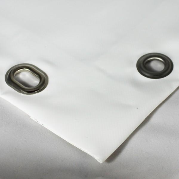 PVC matt mit Saum und Ovalösen alle 100cm, weiß