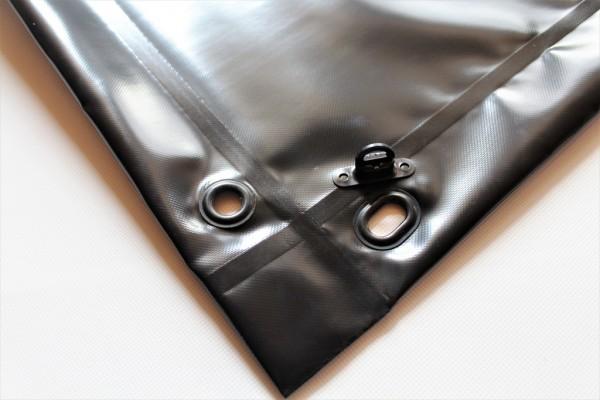 mit Saum und Ovalösen alle 50cm, schwarz, inkl. Drehwirbel