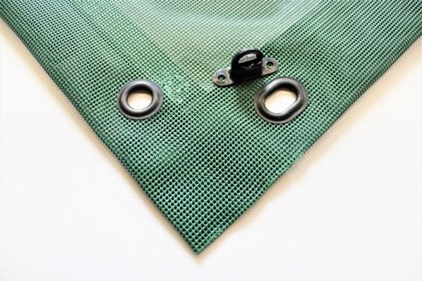 PVC Netz mit Saum und Ovalösen alle 1m, moosgrün, inkl. Drehwirbel
