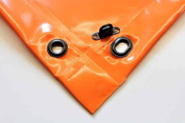 mit Saum und Ovalösen alle 1m, orange, inkl. Drehwirbel