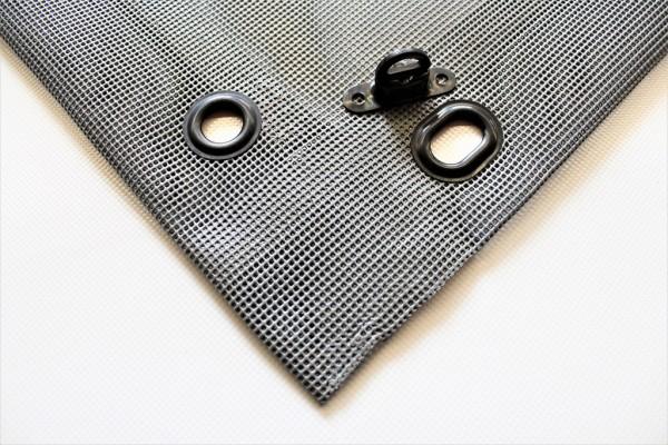 PVC Netz mit Saum und Ovalösen alle 1m, grau, inkl. Drehwirbel