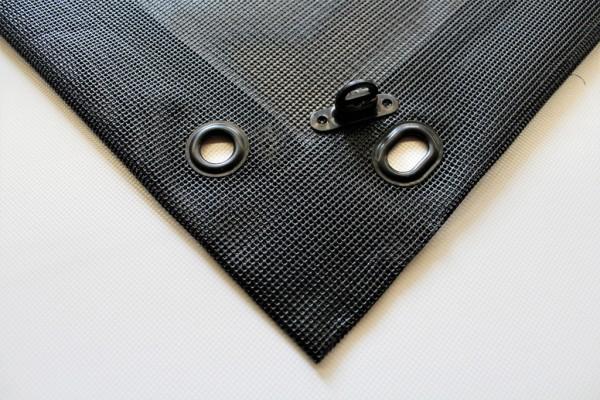 PVC Netz mit Saum und Ösen alle 50cm, schwarz
